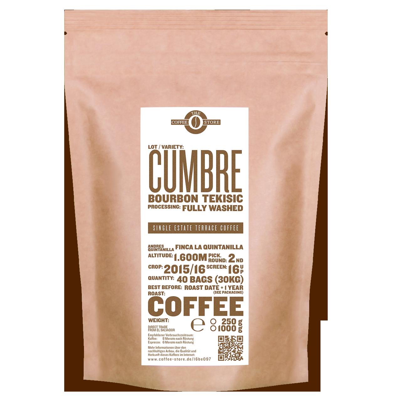 Eine Tüte gerösteter Kaffee von The Coffee Store. Kaffeeröstung Varietät Bourbon Tekisic.