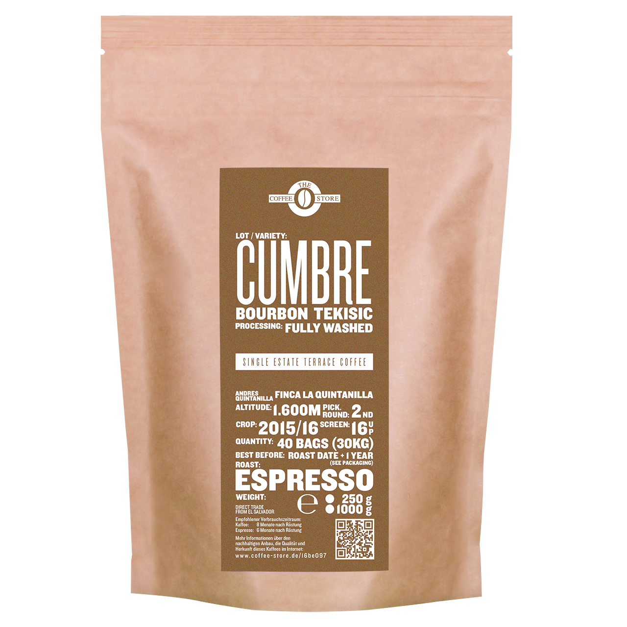 Eine Tüte gerösteter Kaffee von The Coffee Store. Espressoröstung Varietät Bourbon Tekisic.