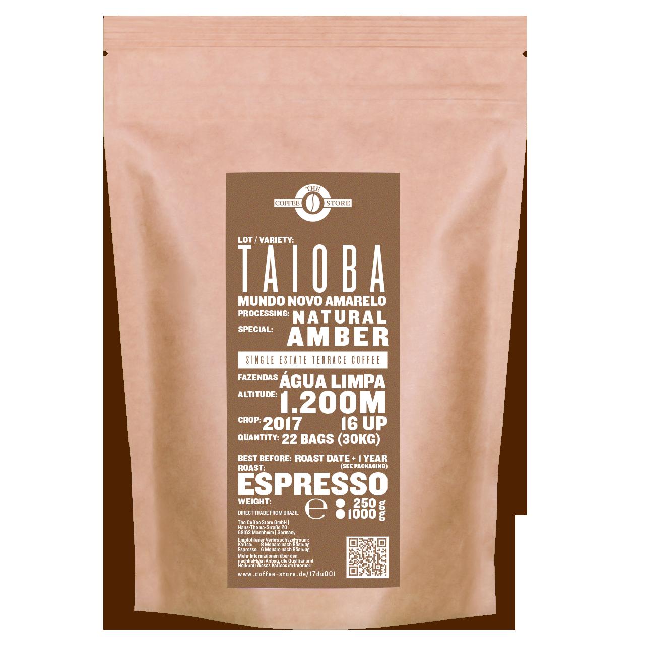 Eine Tüte gerösteter Kaffee von The Coffee Store. Espressoröstung Varietät Mundo Novo amarelo.