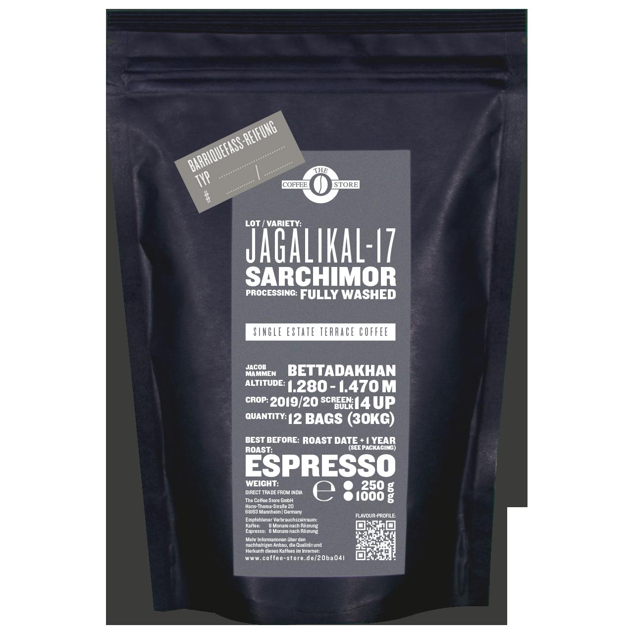 """Jagalikal-17 Fass-Reifung """"Iron Balls Gin"""" - Espressoröstung"""