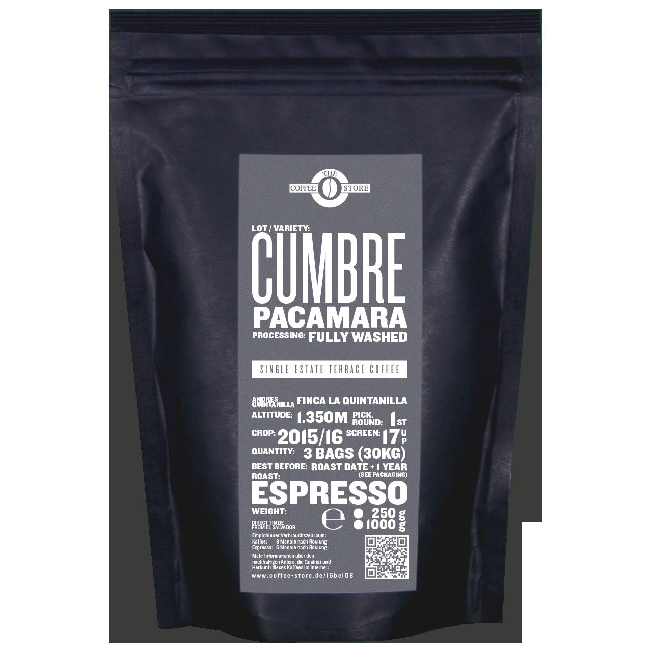 Cumbre, Pacamara - Espressoröstung