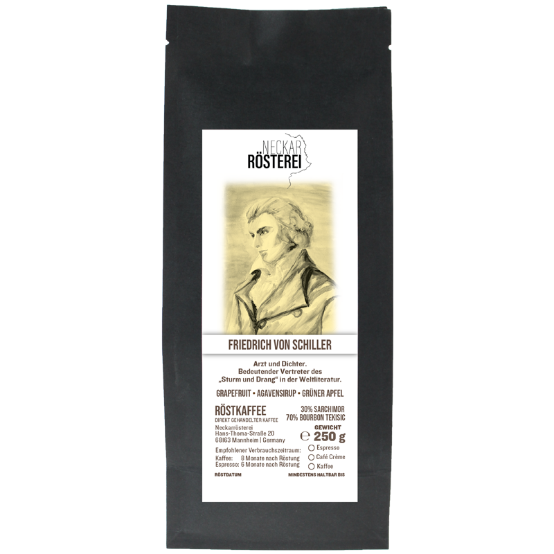 Eine Tüte gerösteter Kaffee von Neckarrösterei. Mischung Friedrich Schiller.