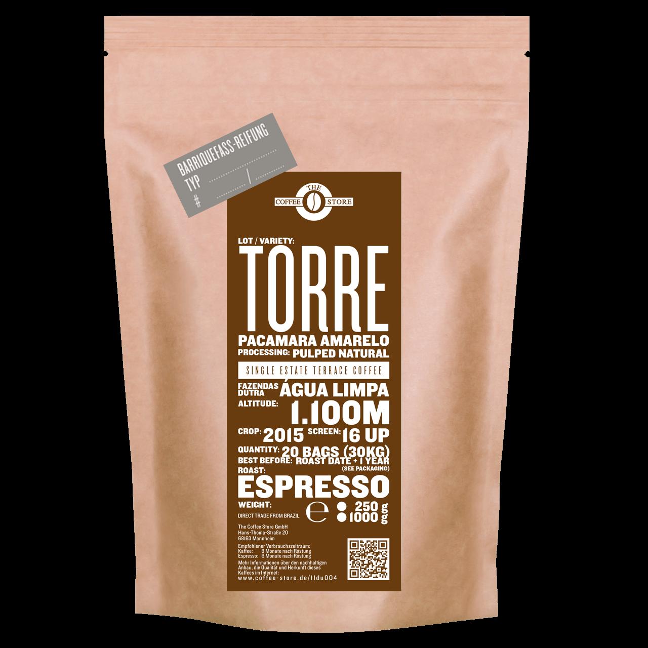 Eine Tüte gerösteter Kaffee  von The Coffee Store. Espressoröstung Varietät Pacamara im Fass gereift.