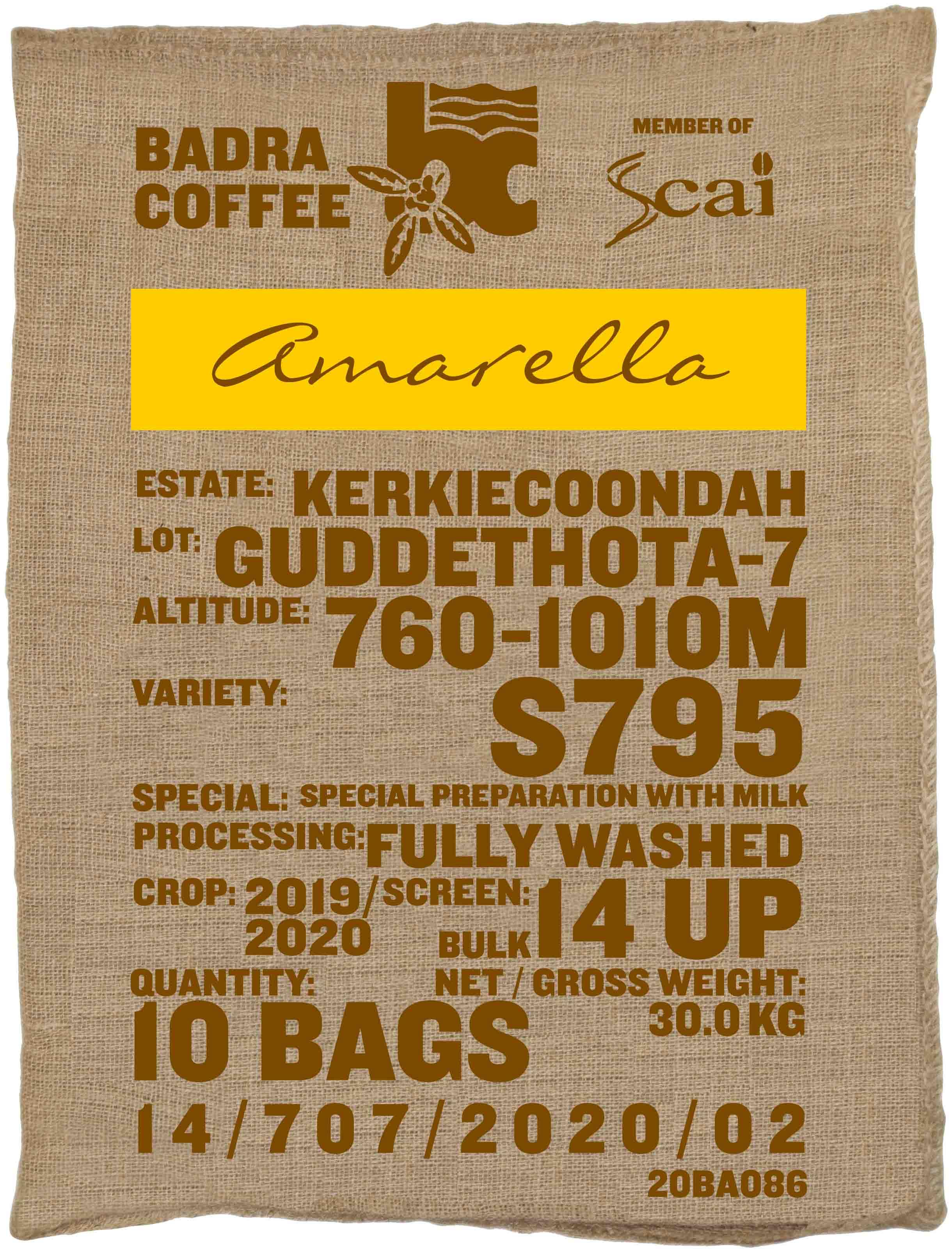 Ein Rohkaffeesack amarella Parzellenkaffee Varietät S795. Badra Estates Lot Guddethota 7.